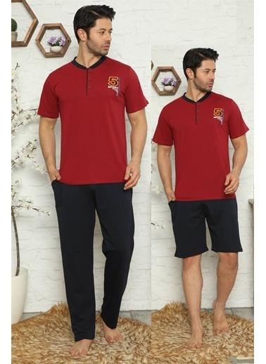 Akbeniz Erkek %100 Pamuk Cepli 3'Lü Pijama Takımı 6738 Bordo